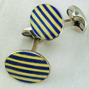 Tiffany & Co Cufflinks Sterling Silver Oval blue